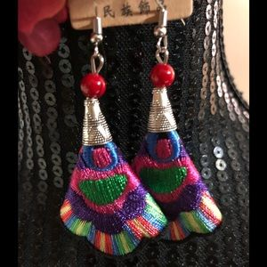 NWT embroidered earrings